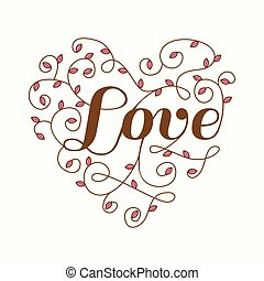 Floral Heart with Love Word - for Valentine's Day - in vector