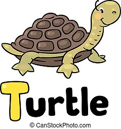 Little funny turtle, for ABC. Alphabet T