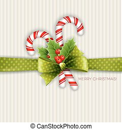 Christmas decoration with holly leaves and green polka dot...