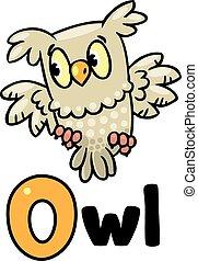 Little owl for ABC. Alphabet O