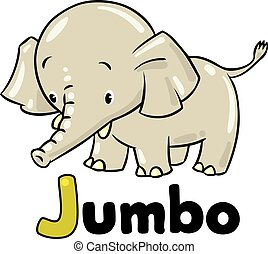 Little funny elephant or jumbo - Children vector...