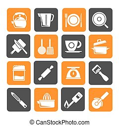 kitchen gadgets icons - Silhouette kitchen gadgets and...