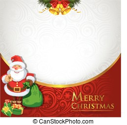 Christmas gretting card - Christmas greeting card with santa...