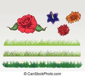 Flower and grass set