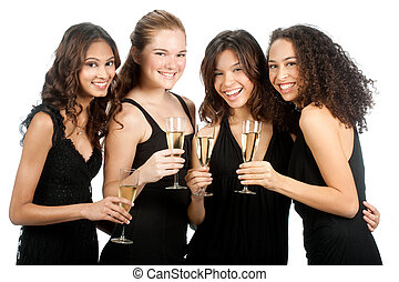 Diverse Teenagers with Wineglasses - A group of teenagers...