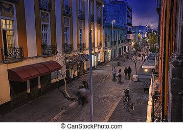Mexico City nightlife - Night in Mexico City. Streets of the...