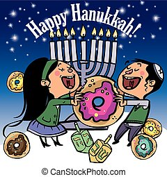Funny Happy Hanukkah greeting card. Vector illustration -...