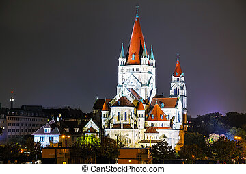 St. Francis of Assisi Church in Vienna, Austria at night