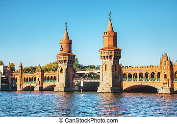 Oberbaum bridge in Berlin, Germany on a sunny day