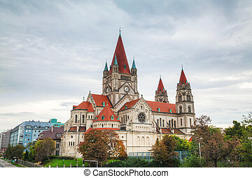 St. Francis of Assisi Church in Vienna, Austria ona cloudy...