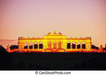 Gloriette Schonbrunn in Vienna at sunset