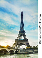 Paris cityscape with Eiffel tower in the morning