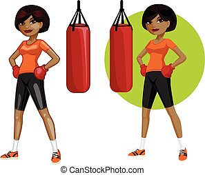 Cute young African American woman boxer vector illustration...