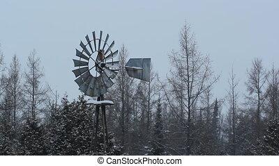 Winter windmill in rural Ontario.