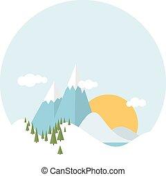 Flat design winter snowy landscape
