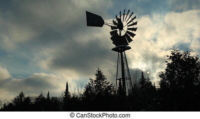 Winter windmill and landscape. - Winter windmill used as a...