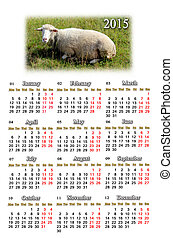 calendar for 2015 year with sheep - beautiful calendar for...