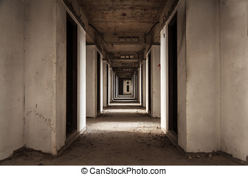 Abandoned Room - Haunted Abandoned Building Hotel Corridor