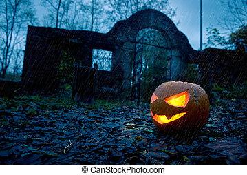 Halloween pumpkin with ancient gate