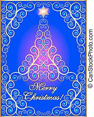 greeting card with ornamental tree with gems