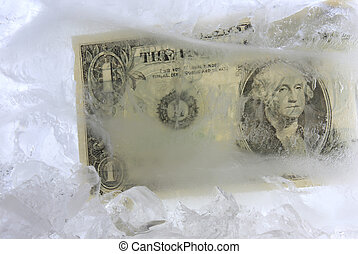Cold cash - Frozen dollar in a block of ice
