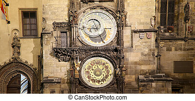 Night view of the medieval astronomical clock in the Old...