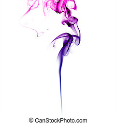 Purple smoke Abstract bright colored smoke on a white...