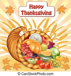 card for Thanksgiving with a cornucopia of fruits and...