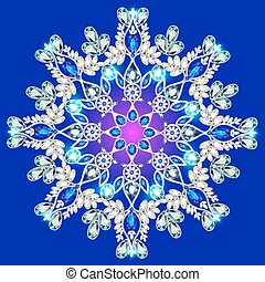 snowflake made of precious stones on a blue background