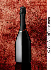 bottle of sparkling wine on colorful background