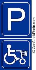 parking shop mobillity sign vector