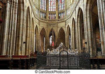 interno, di, santo, Vitus, cattedrale, in, Praga, ceco,...