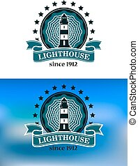 Nautical emblem with a lighthouse - Nautical or marine...