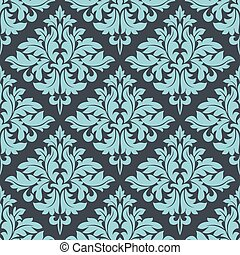 Blue on grey damask seamless pattern