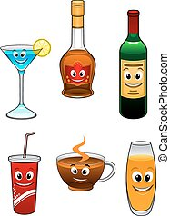 Drinks and beverage cartoon characters with martini, coffee,...