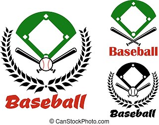 Baseball heraldic emblems or badges with an overview of the...