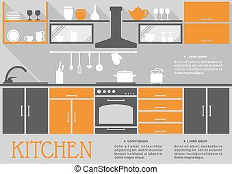 Flat kitchen interior design of a fitted kitchen with...