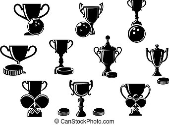 Black and white sports trophies - Black and white silhouette...