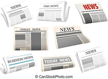 Newspaper icons isolated on white - Newspaper icons with...