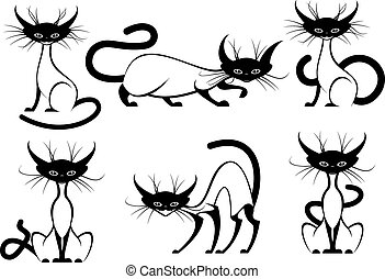 Set of elegant cartoon cats