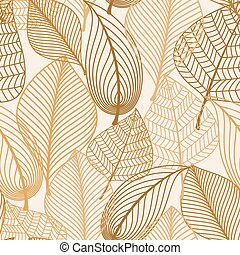 Atumnal seamless pattern with brown leaves in silhouette...
