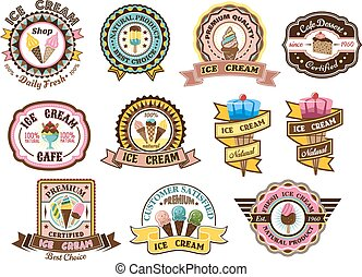 Colorful ice cream emblems or badges - Colorful ice cream...