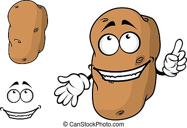 Happy goofy cartoon potato character with a big smile...