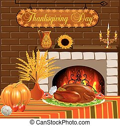 card for Thanksgiving with turkey and vegetables fireplace -...