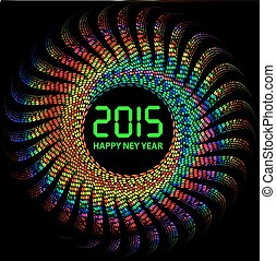 2015 Happy New Year background with colorful lights -...