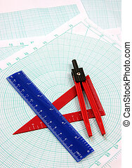 Geometry study - Geometric tools over a polar graphic paper