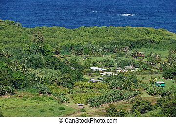 Aerial View of Small ocean side farm community on the road...