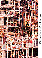 Structure detail in process of construction by using alot of...