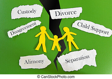 family breakup - Paper cutout family with divorce related...