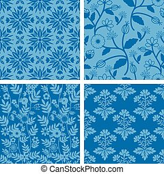 Seamless patterns with decorative flowers